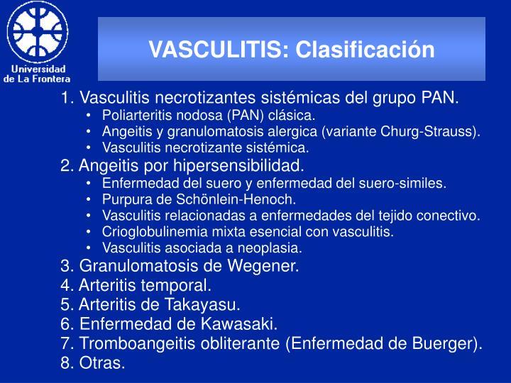 VASCULITIS: Clasificación