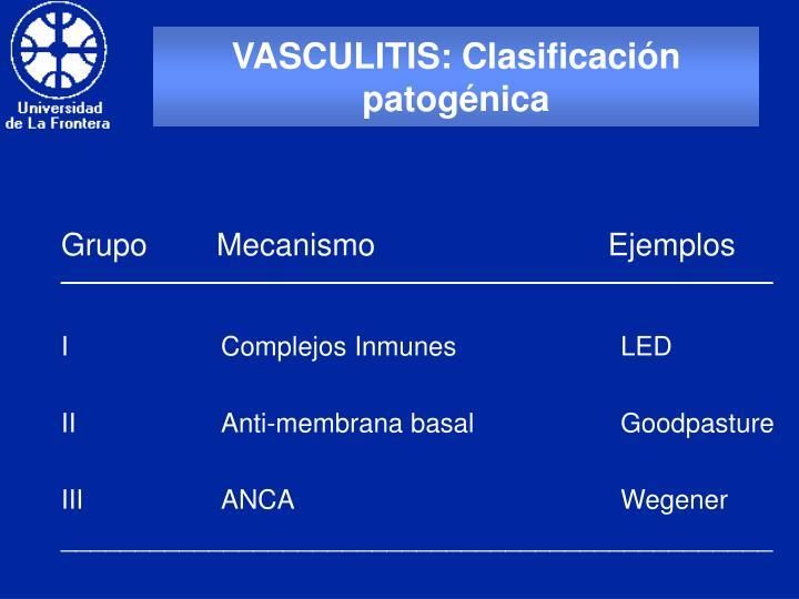 VASCULITIS: Clasificación patogénica