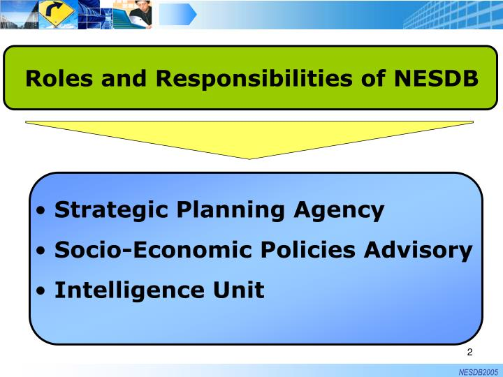 Roles and Responsibilities of NESDB