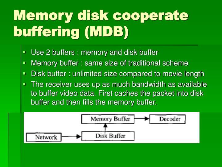 Memory disk cooperate buffering (MDB)