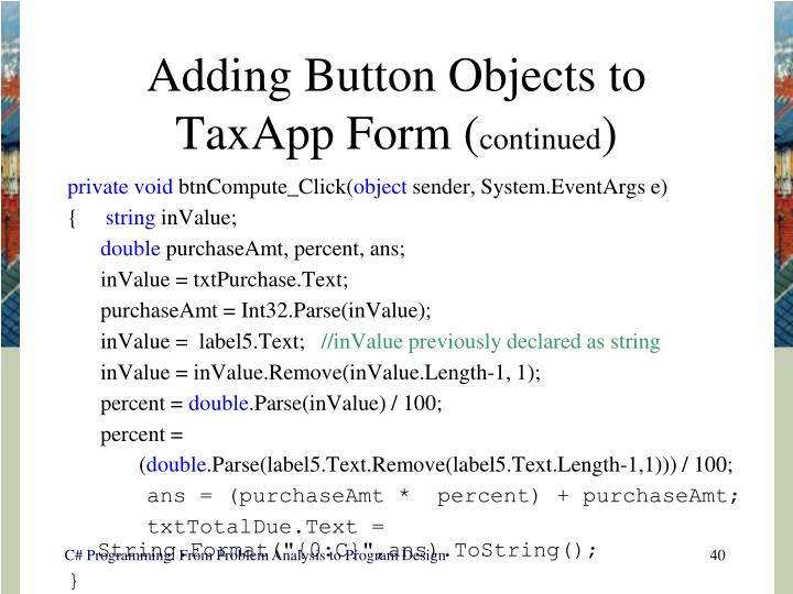 Adding Button Objects to TaxApp Form (