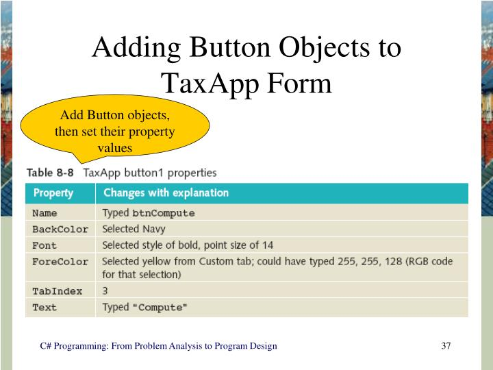 Adding Button Objects to TaxApp Form