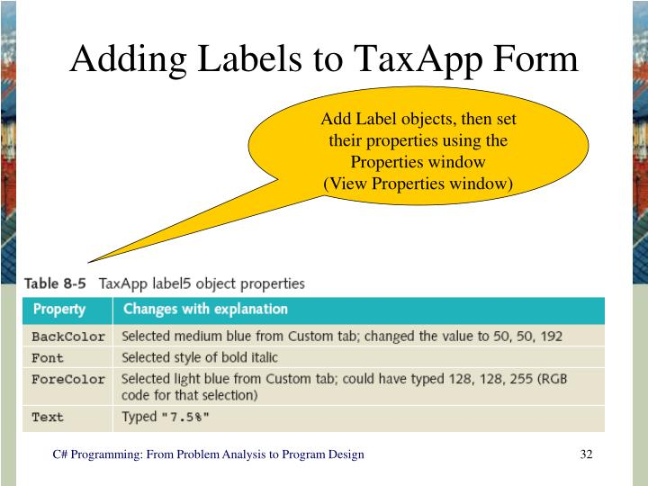 Adding Labels to TaxApp Form