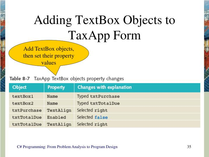 Adding TextBox Objects to TaxApp Form