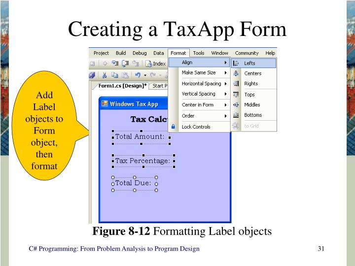 Creating a TaxApp Form