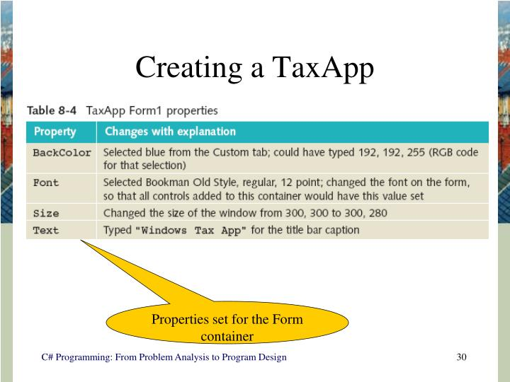 Creating a TaxApp