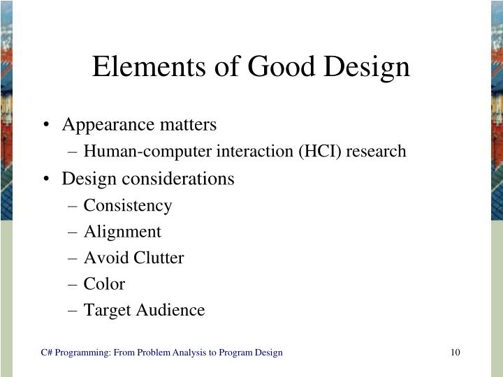 Elements of Good Design