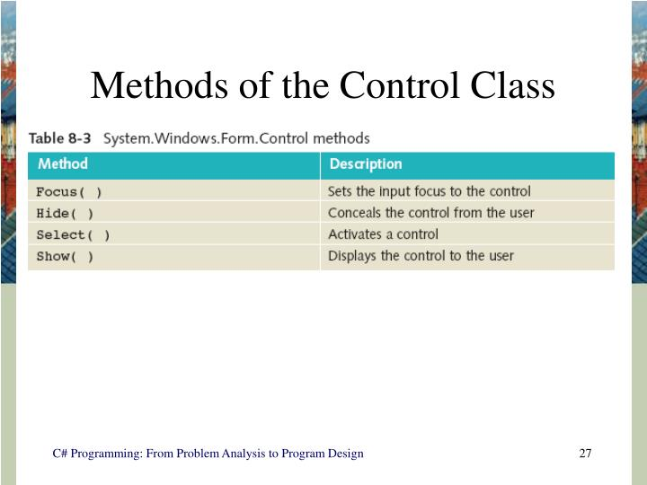 Methods of the Control Class
