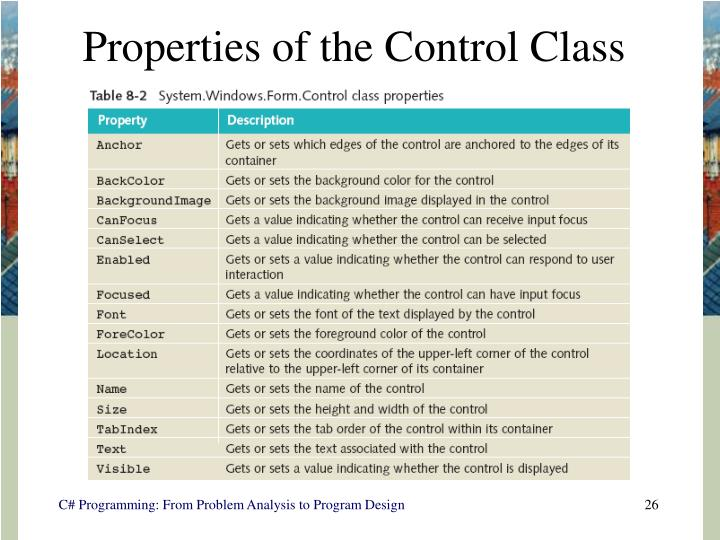 Properties of the Control Class