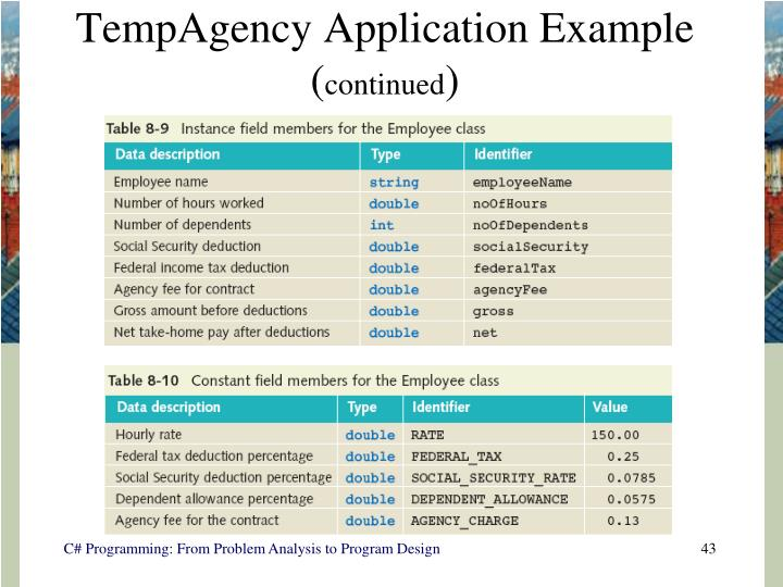 TempAgency Application Example (