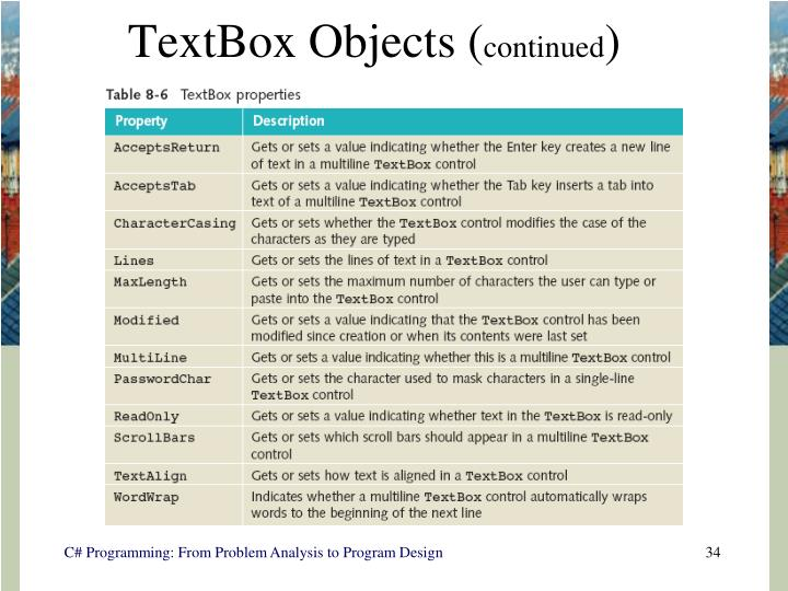 TextBox Objects (