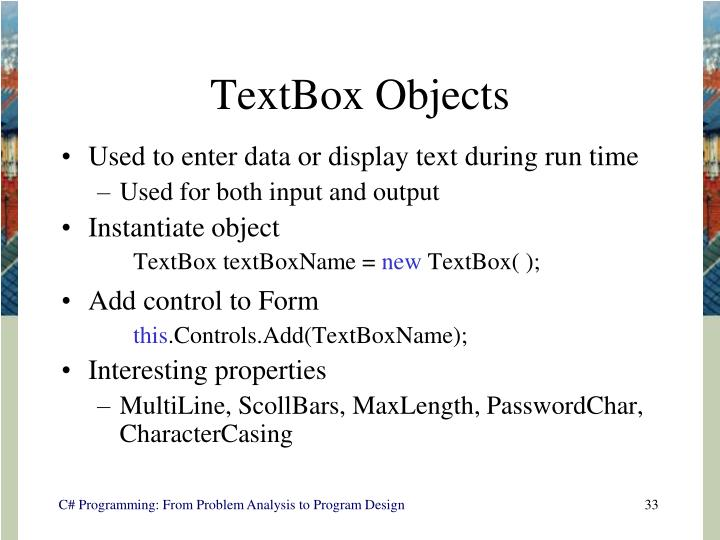 TextBox Objects