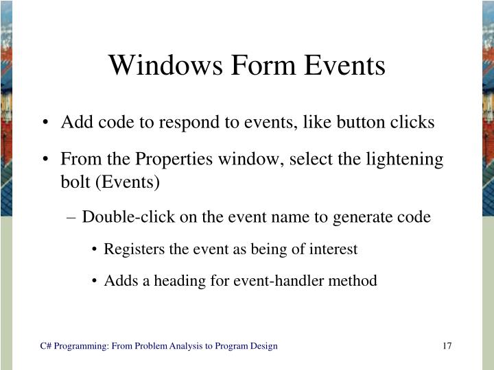 Windows Form Events