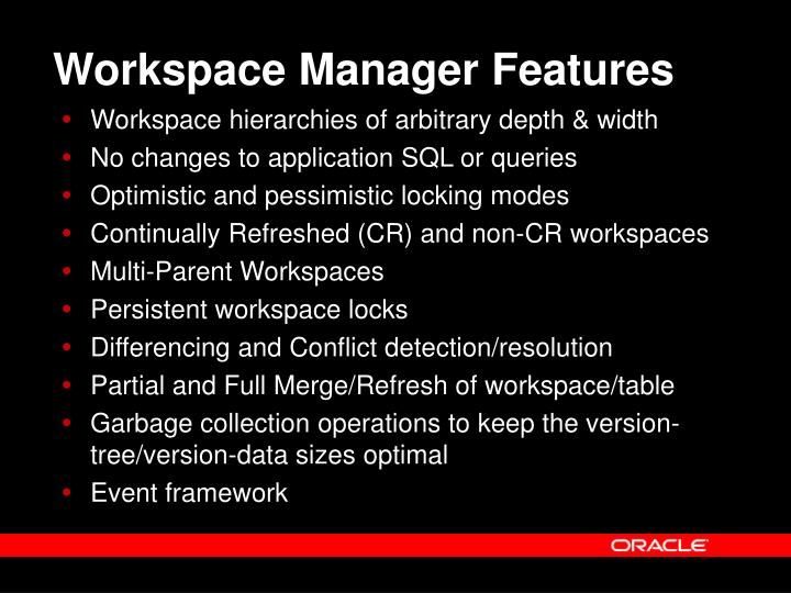 Workspace Manager Features