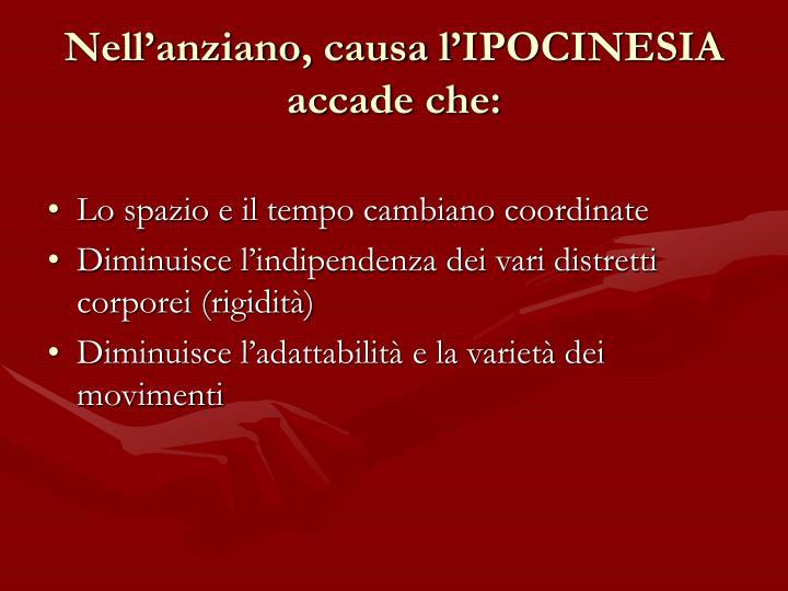 Nellanziano, causa lIPOCINESIA accade che: