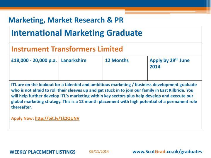 Marketing, Market Research & PR