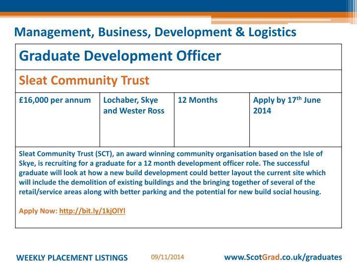 Management, Business, Development & Logistics