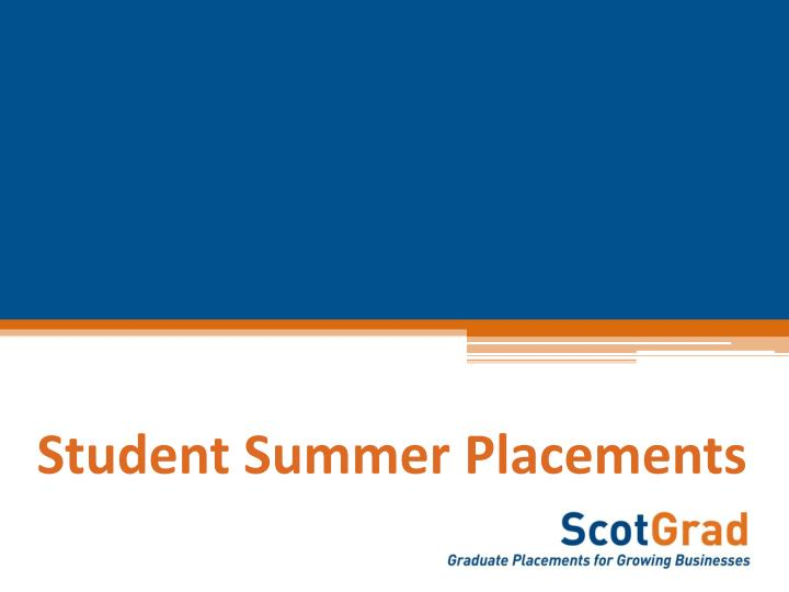 Student Summer Placements