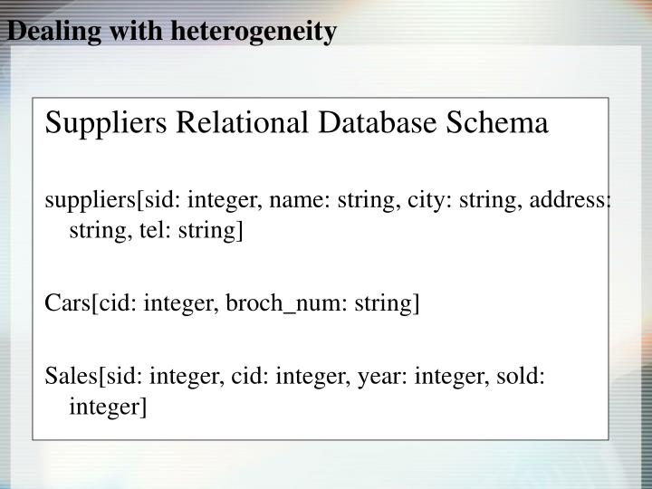 Dealing with heterogeneity