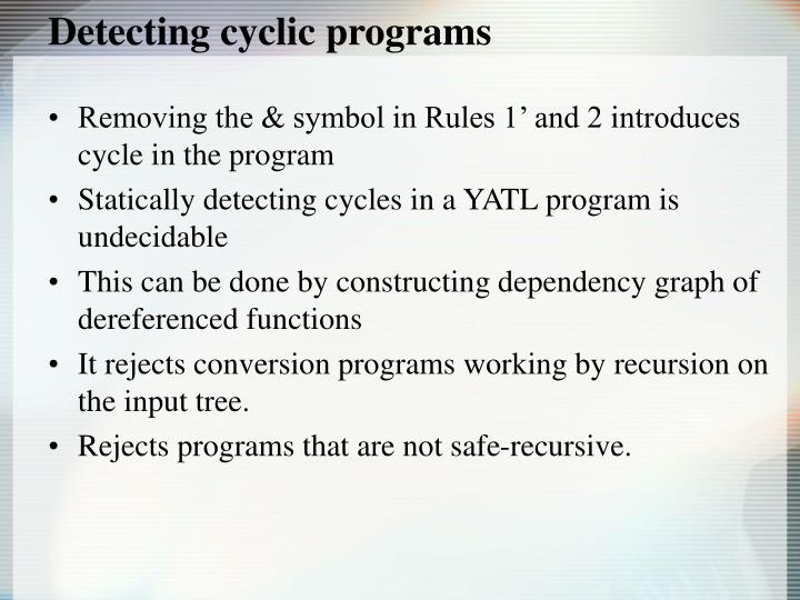 Detecting cyclic programs
