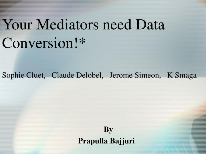 Your mediators need data conversion sophie cluet claude delobel jerome simeon k smaga