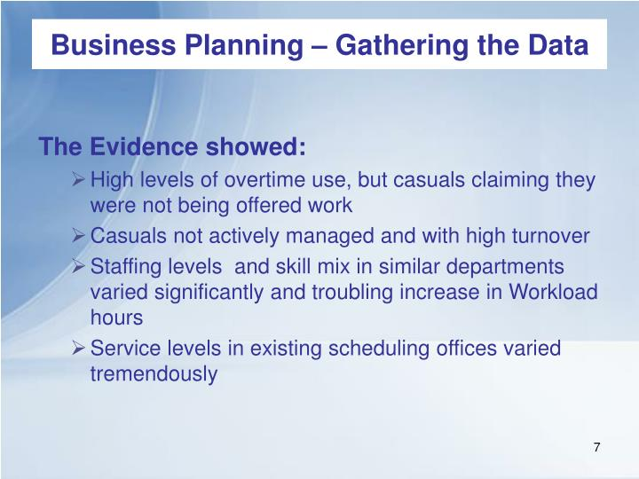 Business Planning – Gathering the Data