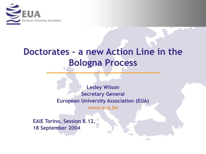 Doctorates – a new Action Line in the Bologna Process