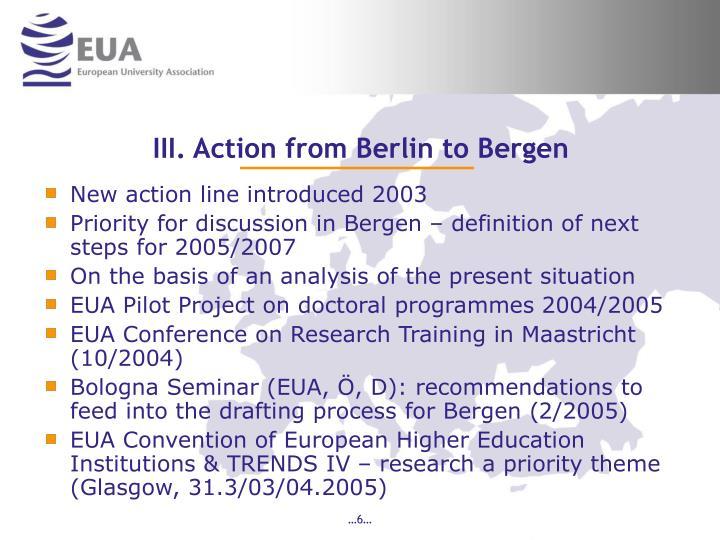III. Action from Berlin to Bergen