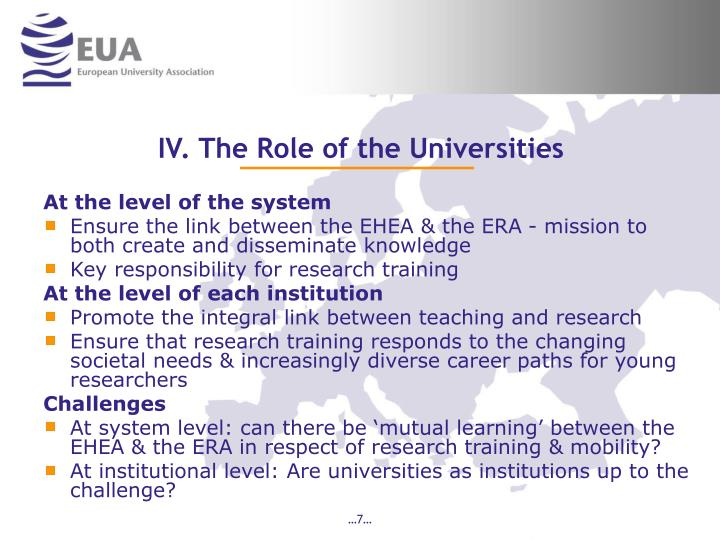 IV. The Role of the Universities