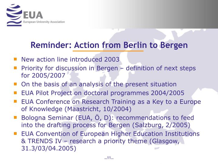 Reminder: Action from Berlin to Bergen