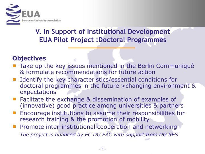 V. In Support of Institutional Development
