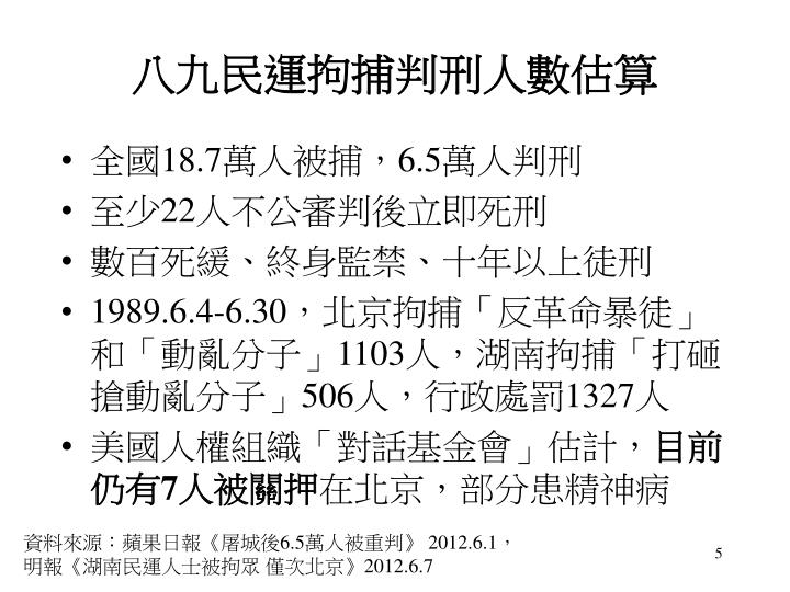 八九民運拘捕判刑人數估算