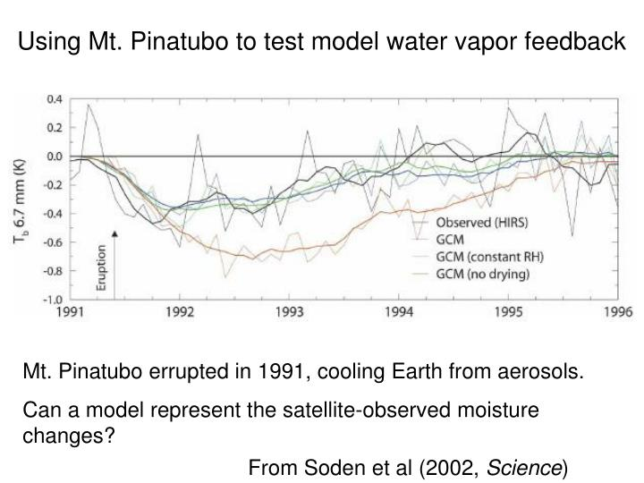 Using Mt. Pinatubo to test model water vapor feedback