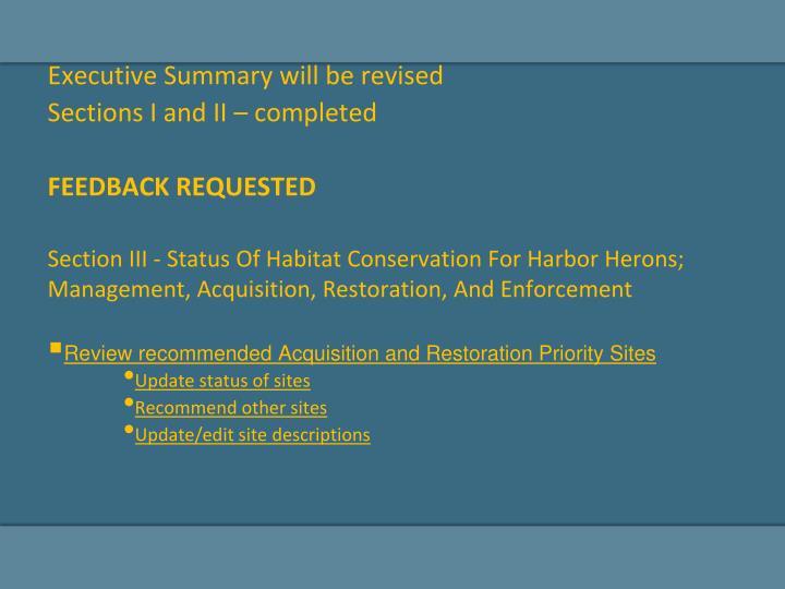 Executive Summary will be revised