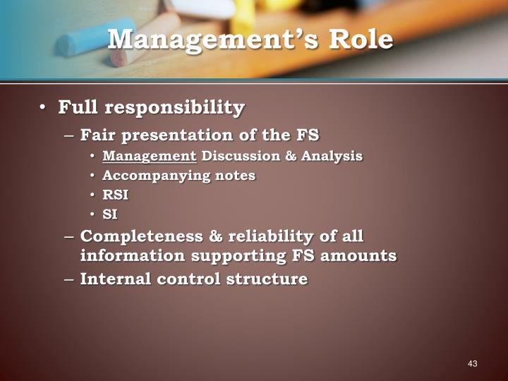 Management's Role