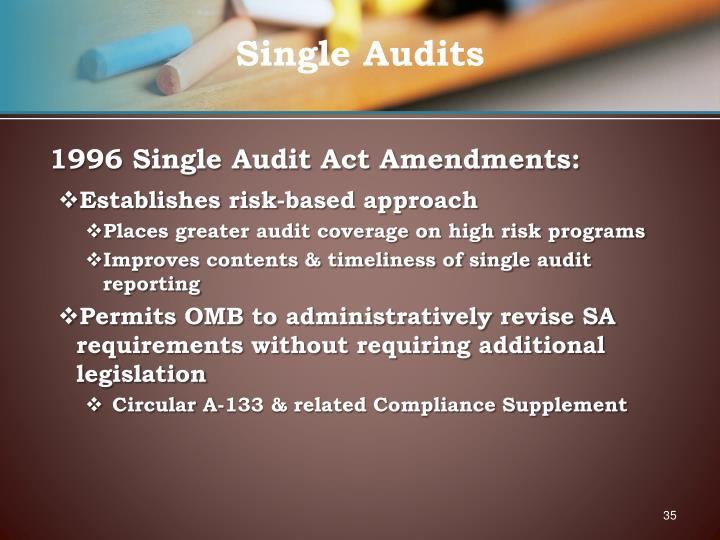 1996 Single Audit Act Amendments:
