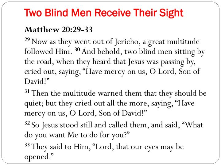 Two Blind Men Receive Their Sight