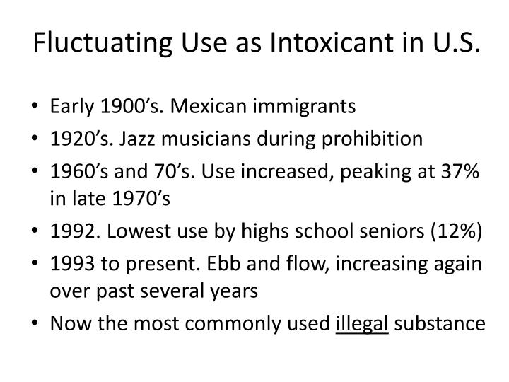 Fluctuating Use as Intoxicant in U.S.