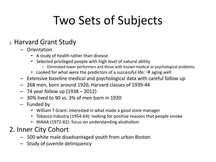 Two Sets of Subjects