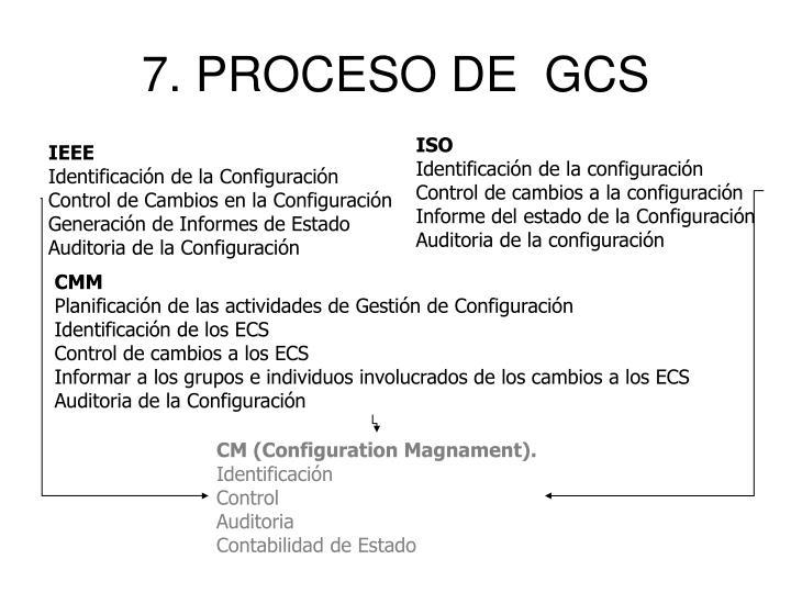 7. PROCESO DE  GCS