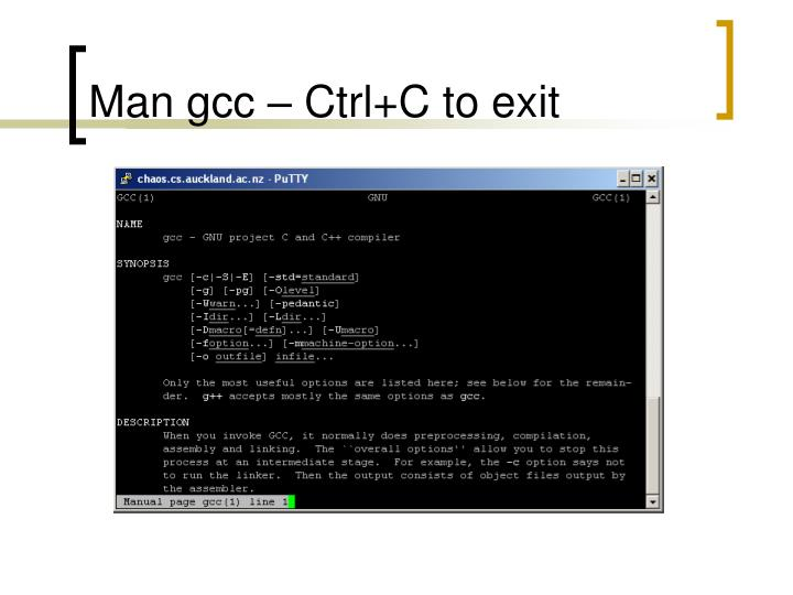 Man gcc – Ctrl+C to exit