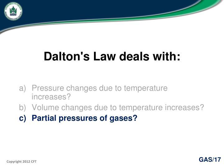 Dalton's Law deals with: