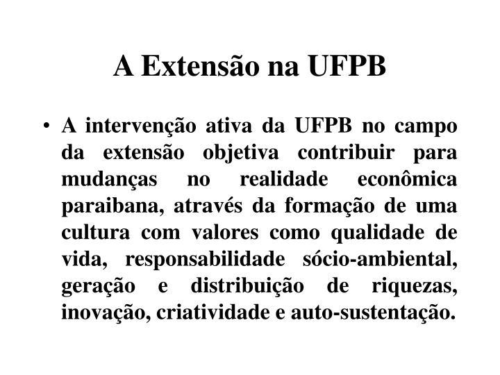 A Extensão na UFPB