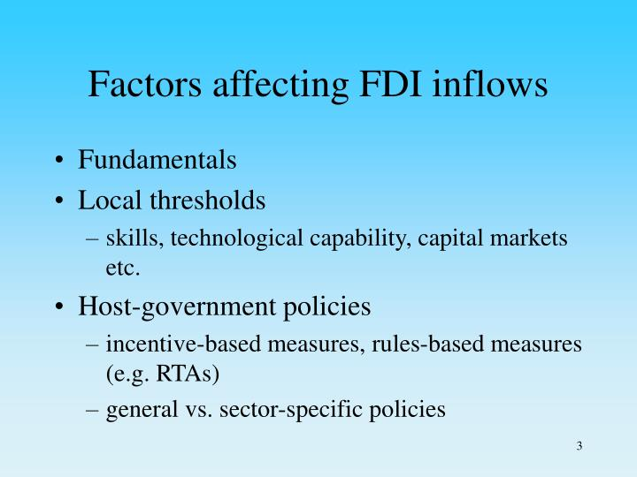 Factors affecting fdi inflows