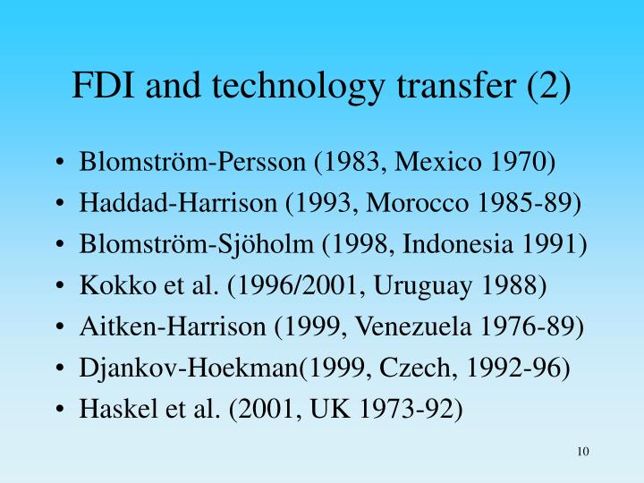 FDI and technology transfer (2)