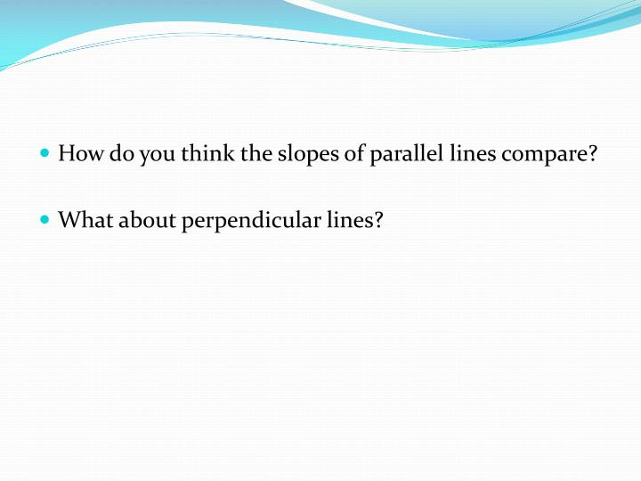 How do you think the slopes of parallel lines compare?