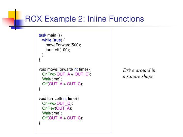 RCX Example 2: Inline Functions