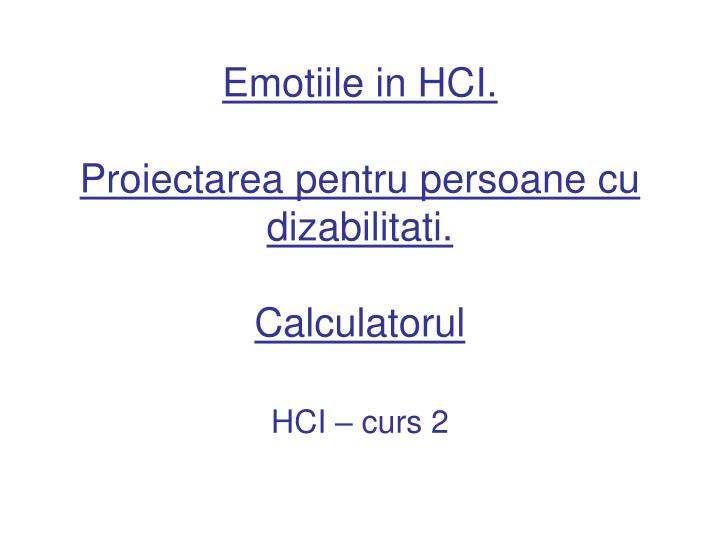 Emotiile in HCI.