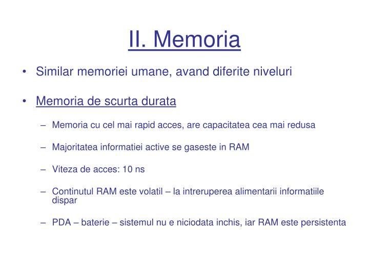 II. Memoria