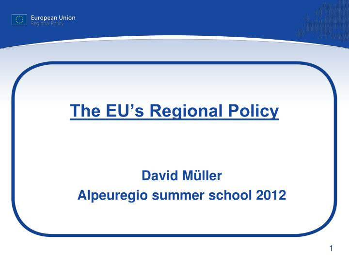 The eu s regional policy
